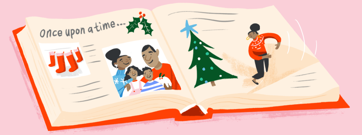 illustration_of_single_mom_looking_at_old_family_photo_during_holidays_by_Fiona_Dunphy_1440X400