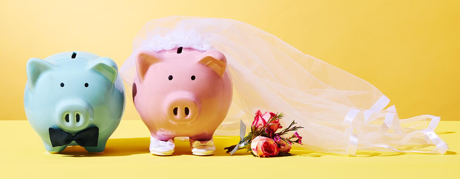 a blue groom piggy bank and pink bride piggy bank illustrating seperate bank accounts when married