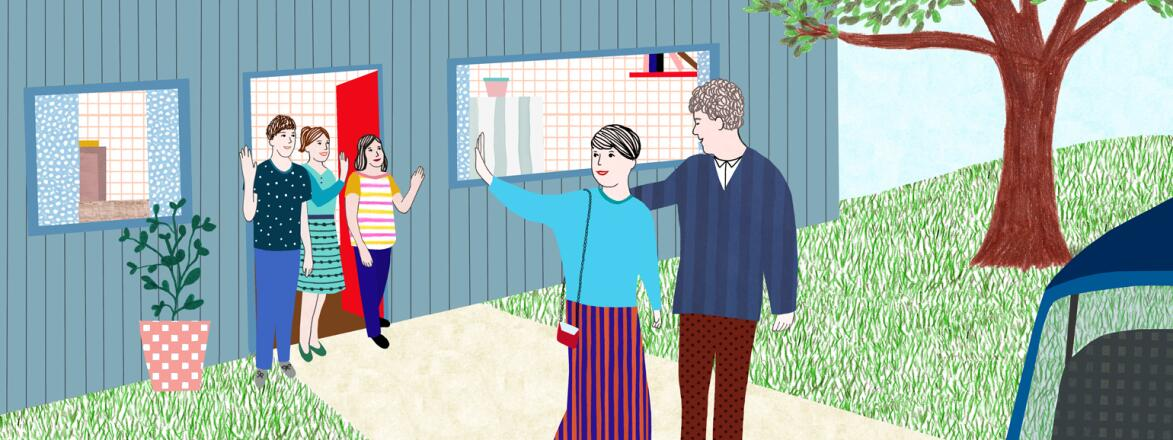 illustration of mom leaving house with man going on a date waving bye to her kids