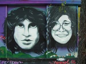 Jim Morrison and Janis Joplin mural