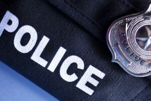 Police badge on vest