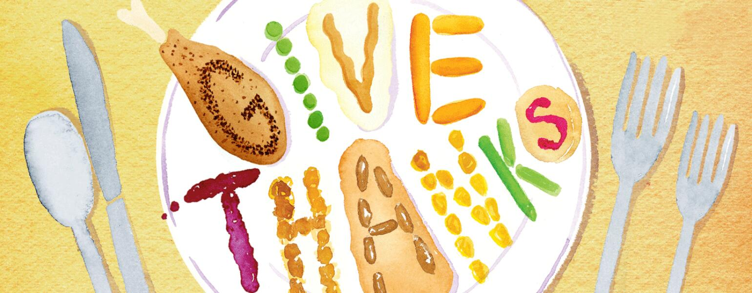 Illustration of a Thanksgiving meal with the words give thanks spelled out in food.