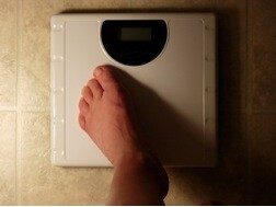 foot on scale