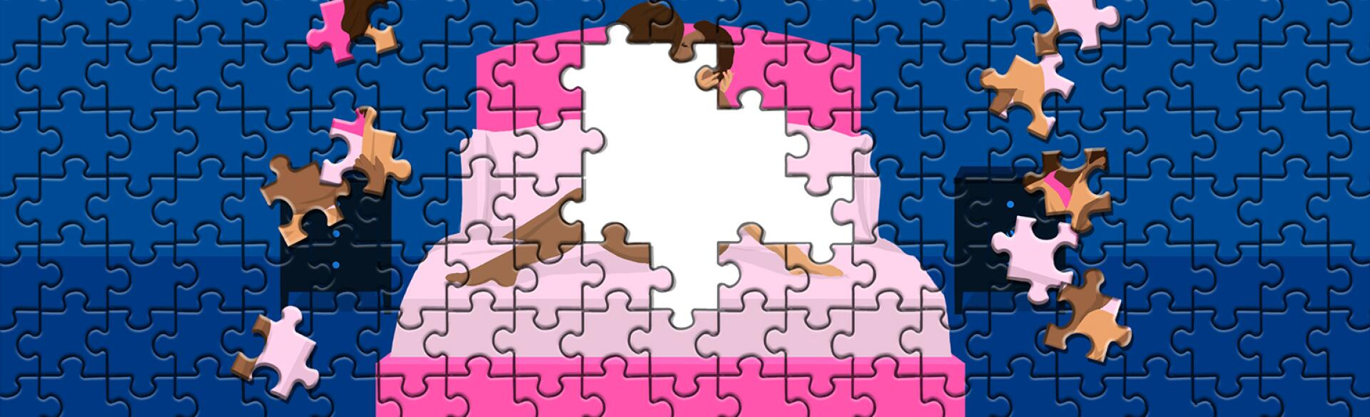 illustration of puzzle with couple making love on bed with pieces missing