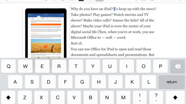 Screenshot of Microsoft Word for iPad