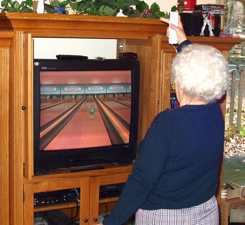 Nintendo wii! My mother-in-law Thelma wii bowling a 155!!!