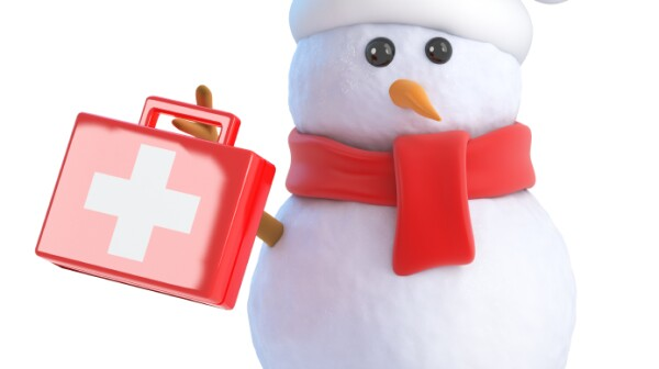 3d Santa snowman holds up a first aid kit