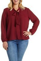 Charlotte Russe tie neck long sleeve Chiffon top