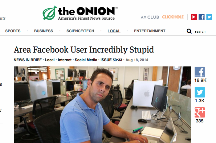 The Onion, Satire, Facebook