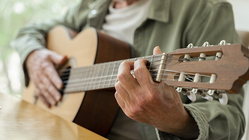 A close-up view of a man playing a guitar