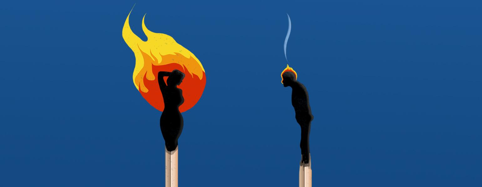 An illustration of a man and woman as matches - the woman's match is on fire as she strikes a sexy pose, while the man's match looks burned out as he slumps forward.