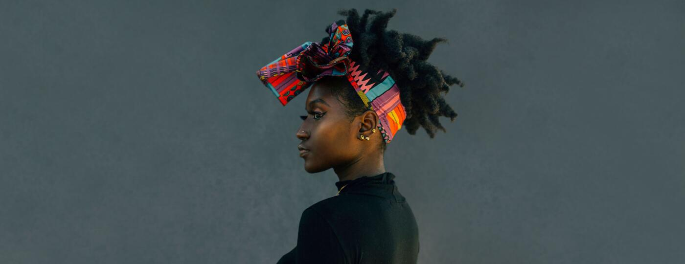 Woman wearing a colorful head wrap