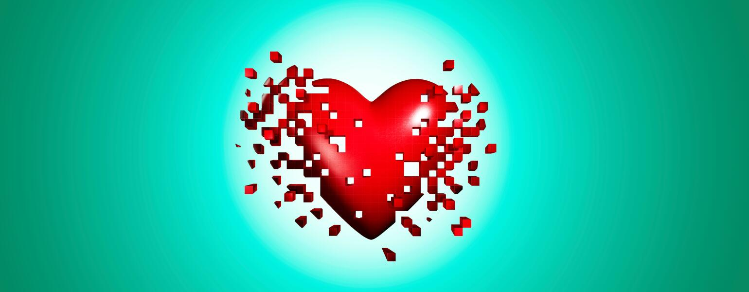 Pixelated red heart on a teal background
