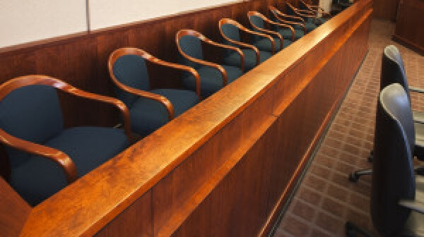 Juror's row in a court room