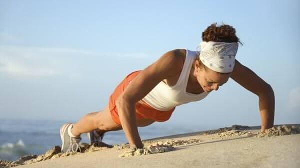 woman doing push-up