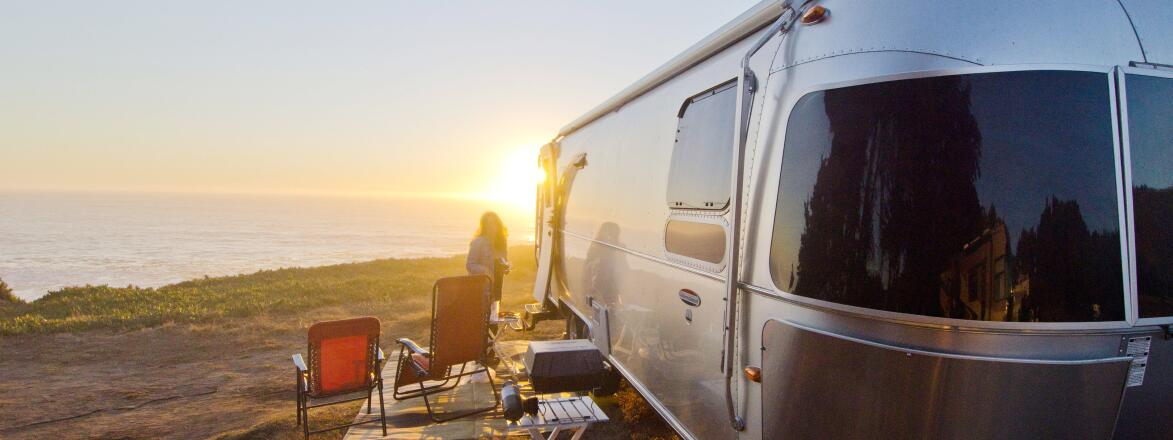 Airstream camping northern California coast
