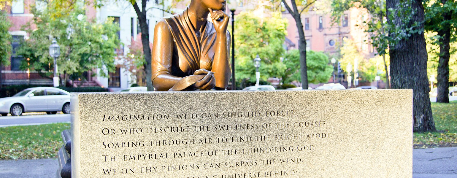 Boston Massachusetts Statue Poet Phillis Wheatley (1753 – December 5 1784) Enslaved Age Eight Is Widely Known As First