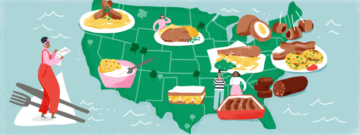 illustration_of_usa_map_with_british_foods_locations_to_check_out_and_lady_marking_her_list_by_Fiona_Dunphy_1440x560.png