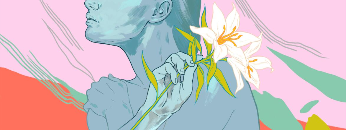 An illustration of a woman holding a white flower, symbolizing her virginity.