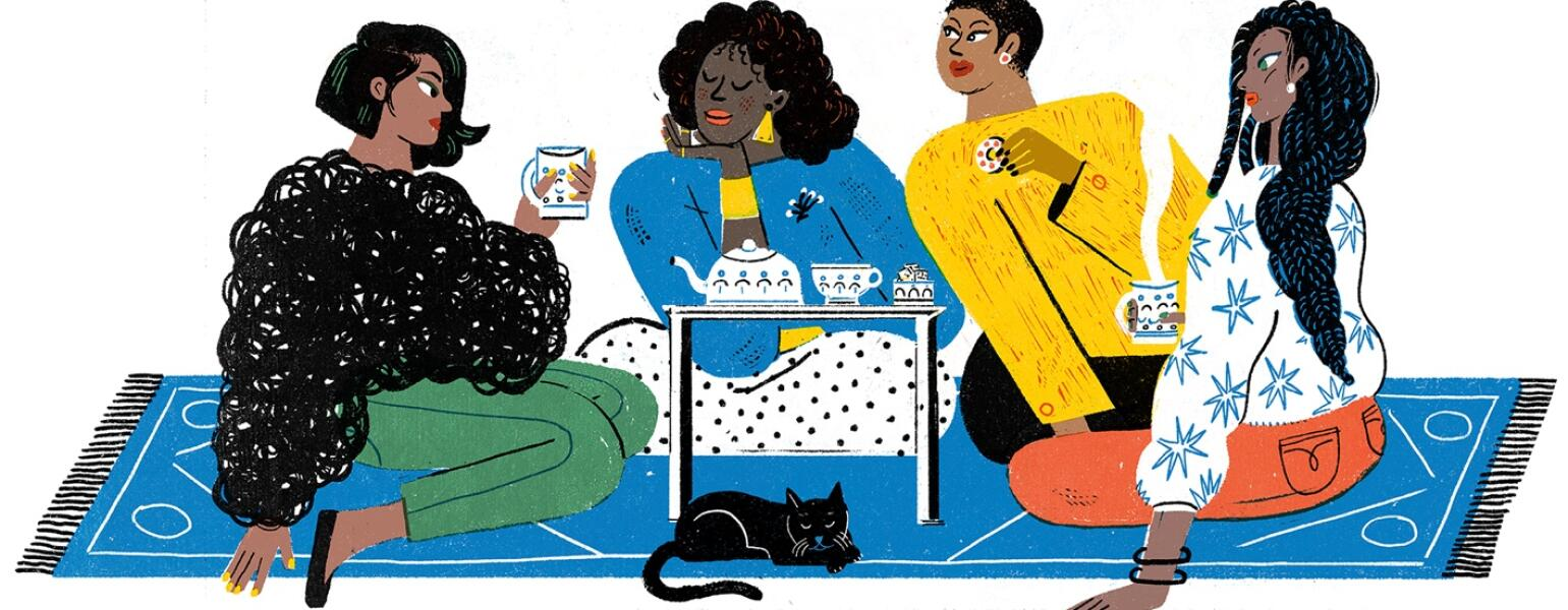A drawing of a group of four sisters, sitting around a small coffee table.