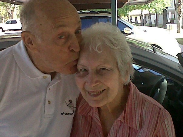 Dad greets Mom when she returns from a hospitalization.