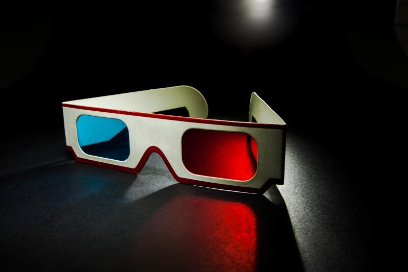 vintage 3D paper glasses on white background