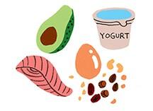 aarp, girlfriend, food, illustration