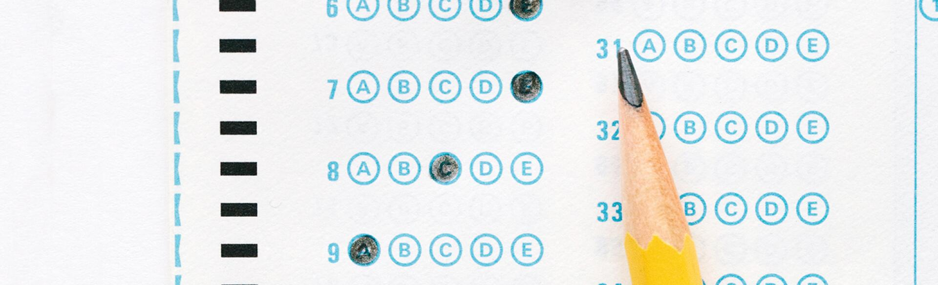 Photo of scantron bubble test with answers filled in.