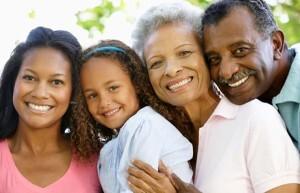 50+ couple with grandchildren