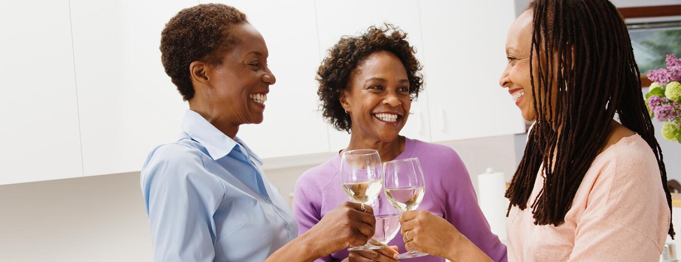black ladies drinking white wine