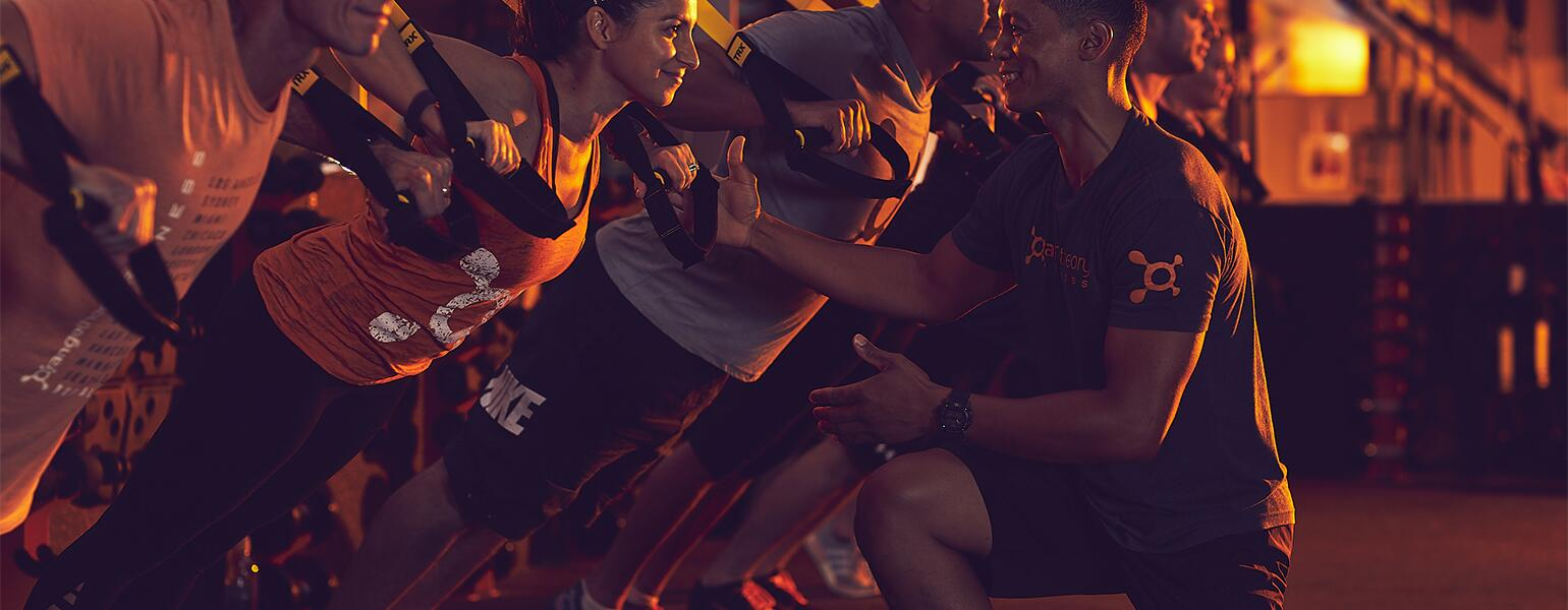 An image of a workout session at Orangetheory Fitness.