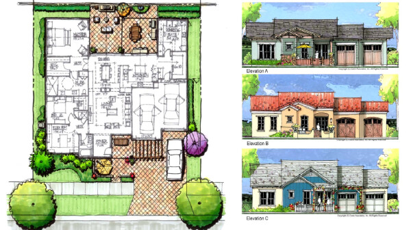 Floor plan and house elevations by Canin Associates