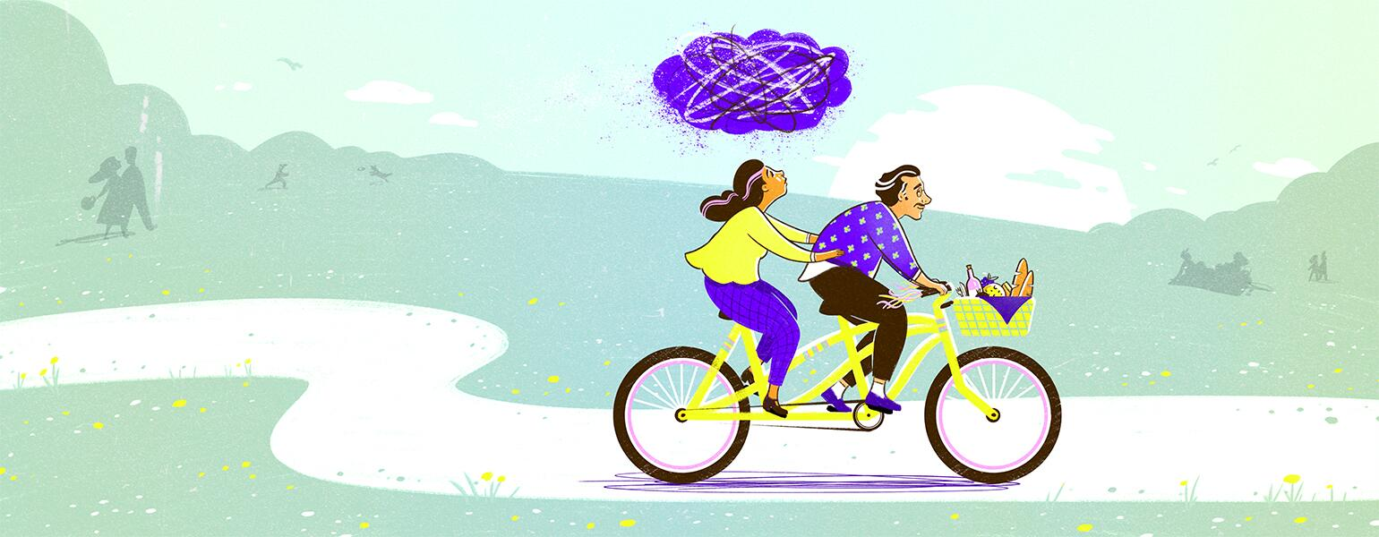 illustration of couple riding a bike with cloud of anxiety over the female by tara jacoby