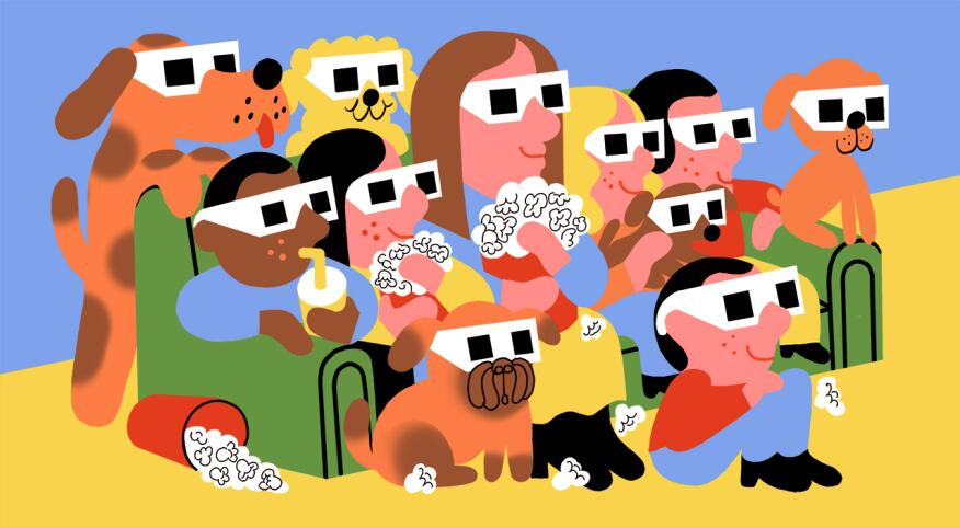 illustration of dogs and people sitting together watching a movie with 3d glasses