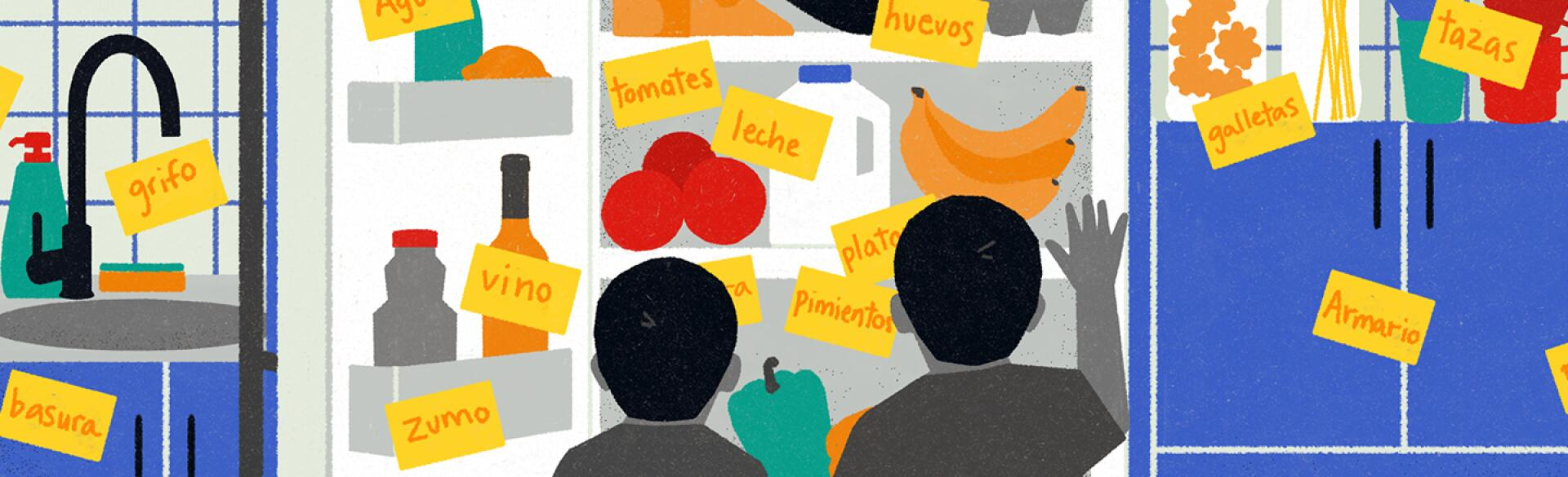 illustration_of_kids_looking_at_fridge_with_spanish_words_over_items_by_maria_hergueta_1440x584.jpg