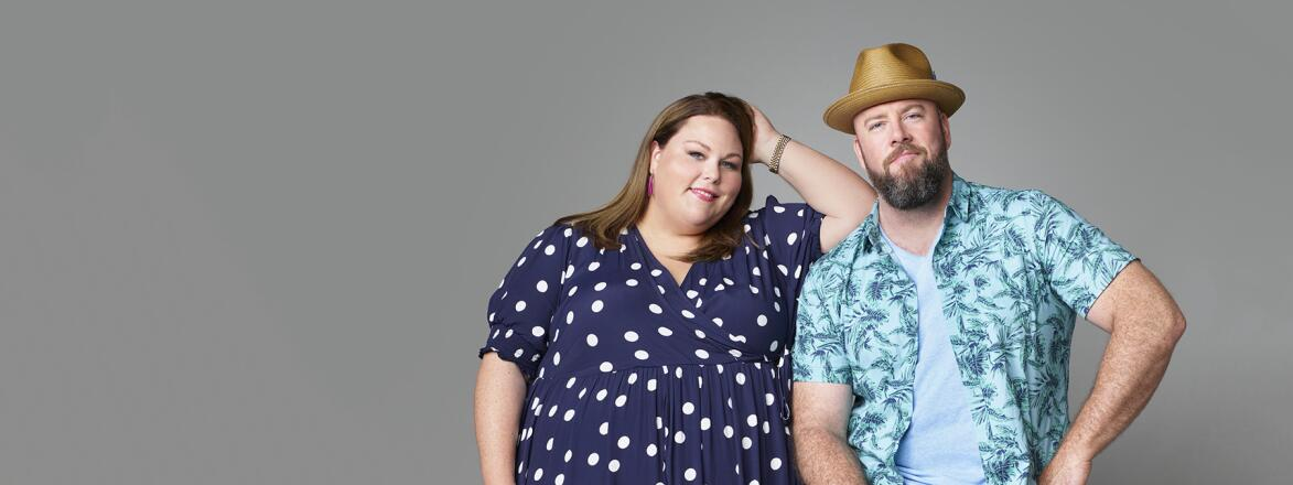 This is US cast members Chrissy Metz as Kate Pearson (L), Chris Sullivan as Toby Damon (R)