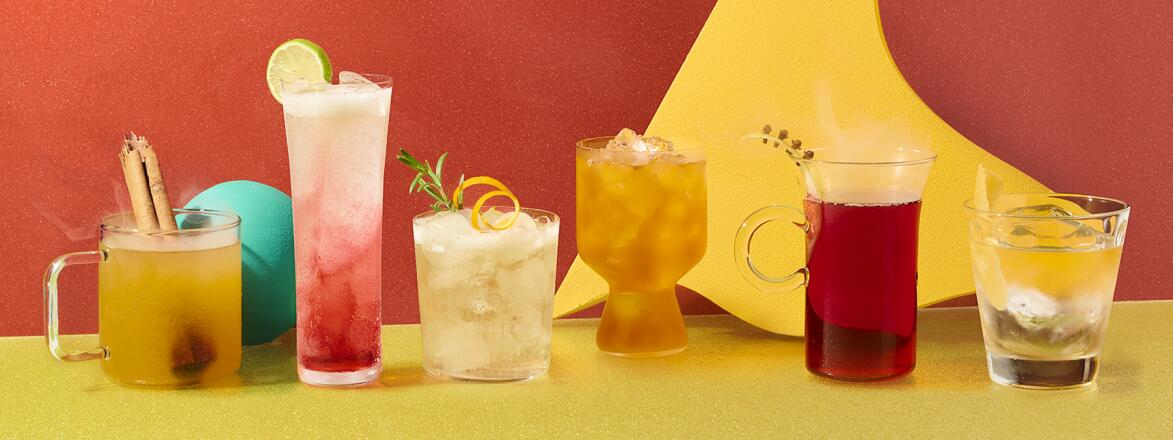 6 cocktails for fall on a yellow, light green and burgundy background.