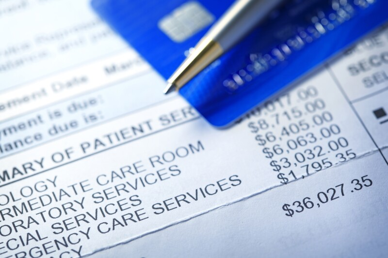 Credit Card On A Hospital Invoice