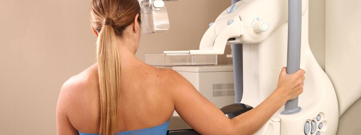 woman getting a mamogram