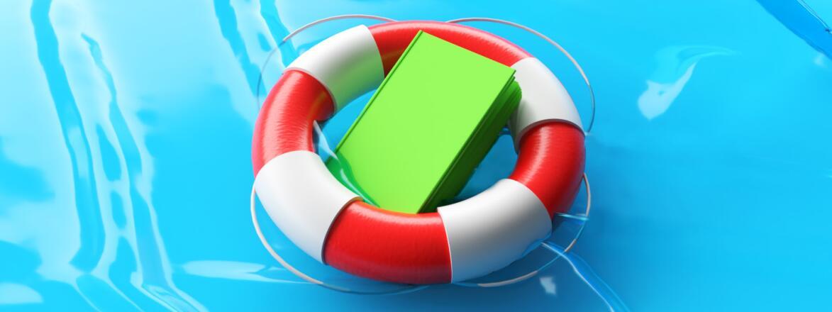 Book in lifesaver in water