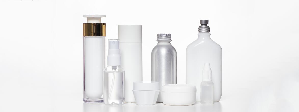 Generic white beauty products on a white background