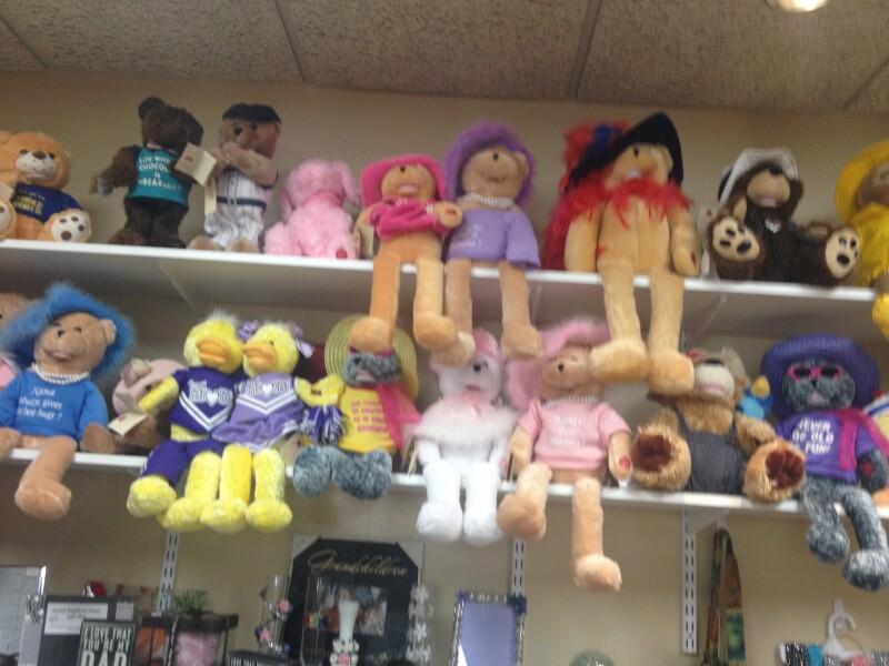 Shelves of stuffed animals sold at nursing home gift shop