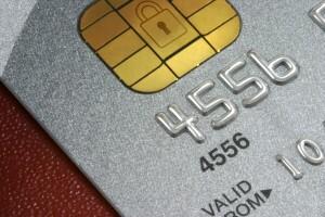 Platinum Credit Card macro, with data holding microhip and padlock motif
