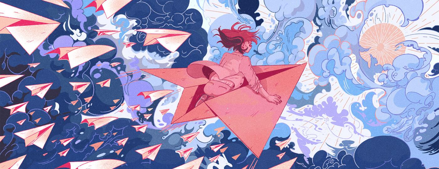 Illustration of woman flying on paper airplane