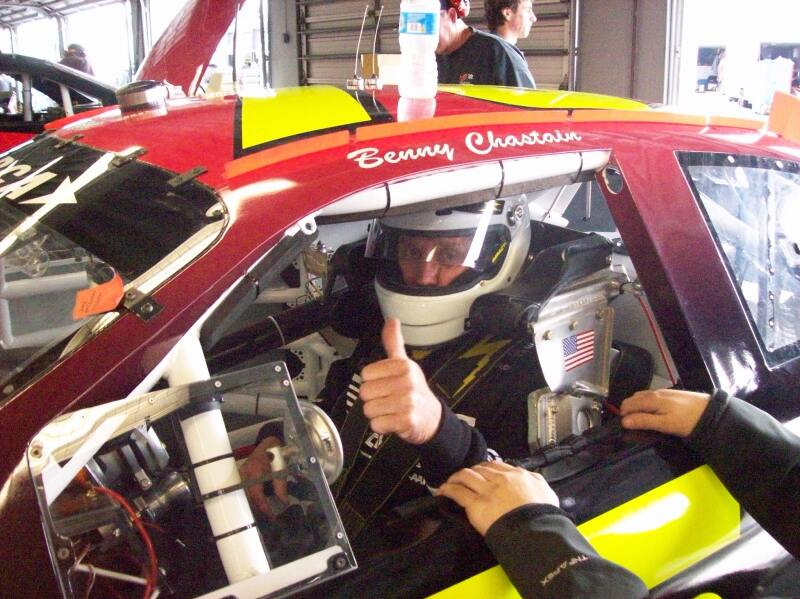 Benny Chastain prepares for practice run at Daytona International Speedway