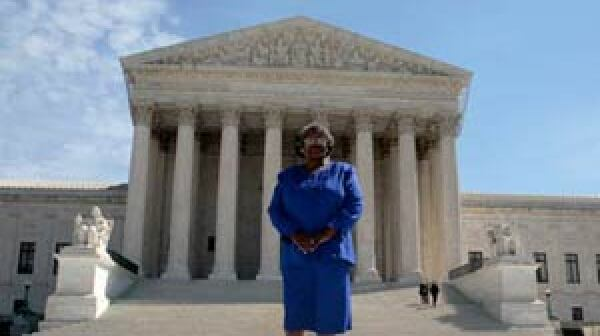 Betty Dukes in front U.S. Supreme Court.