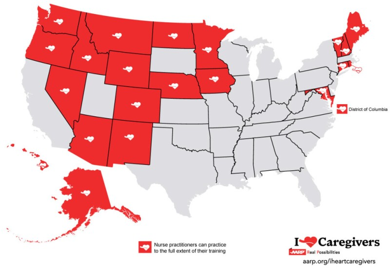 Map: States where nurse can practice to the extent of their training