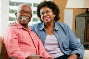 Happy senior couple at home