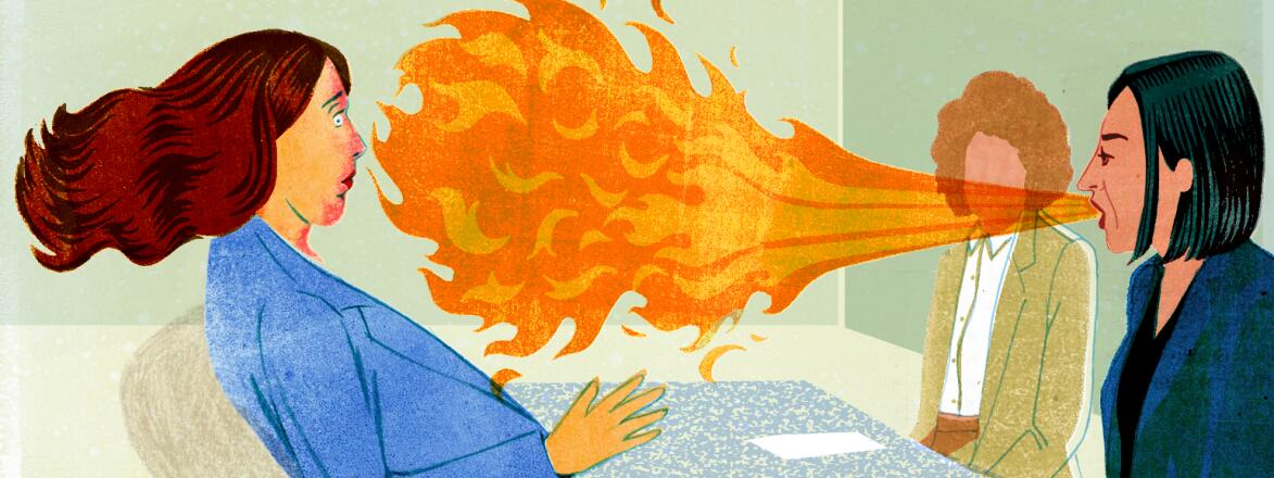 illustration of woman in a meeting with her boss blowing fire in her face