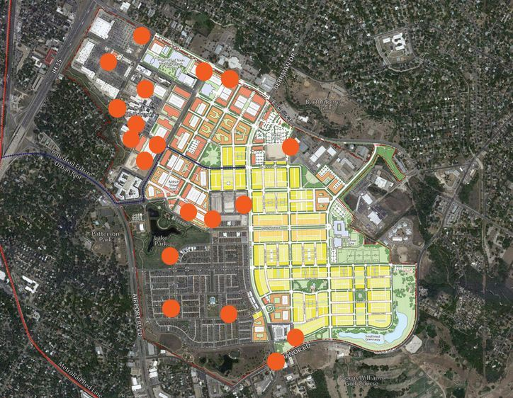 An aerial map of Mueller, a walkable, transit-oriented development five miles outside of downtown Austin, Texas